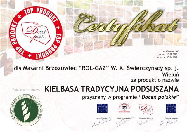 Certyfikat Doceń polskie dla naszej kiełbasy tradycyjnej podsuszanej - Masarnia Brzozowiec
