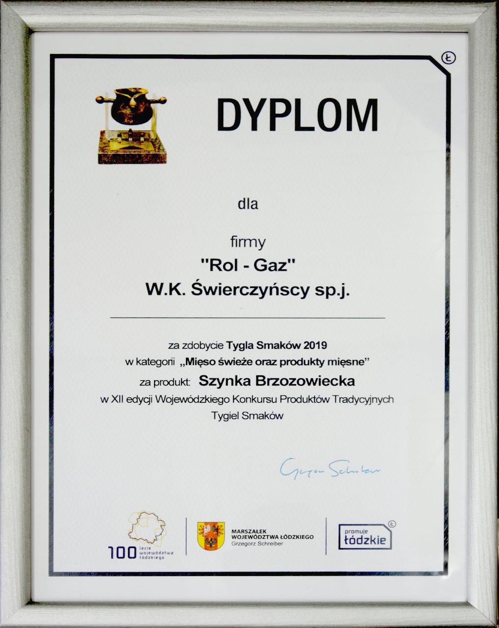 Dyplom_Tygla_Smaków_2019