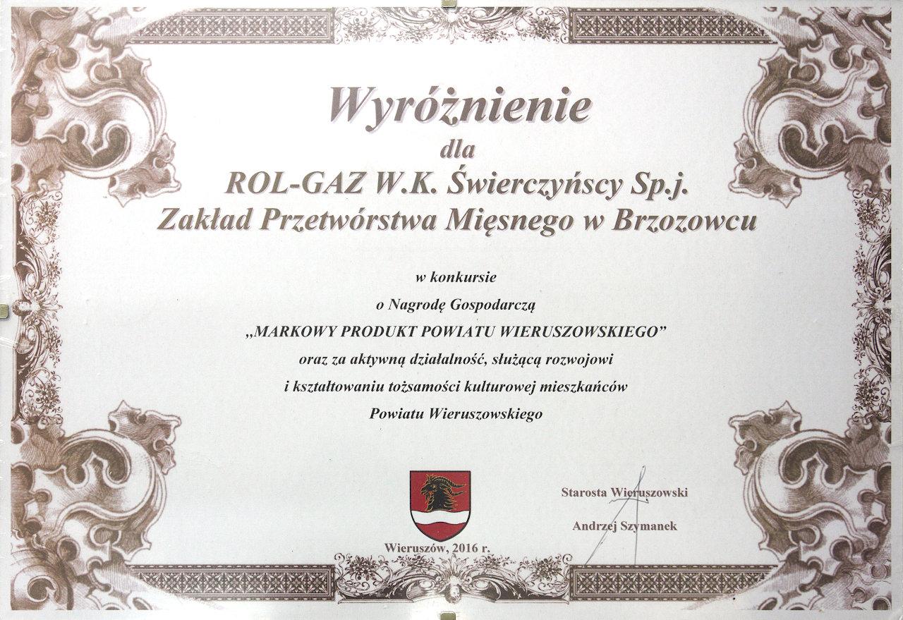 Markowy Produkt Powiatu Wieruszowskeigo_2016