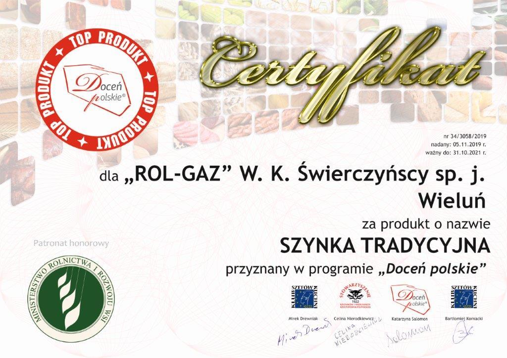 Certyfikat Doceń polskie dla naszej szynki tradycyjnej - Masarnia Brzozowiec